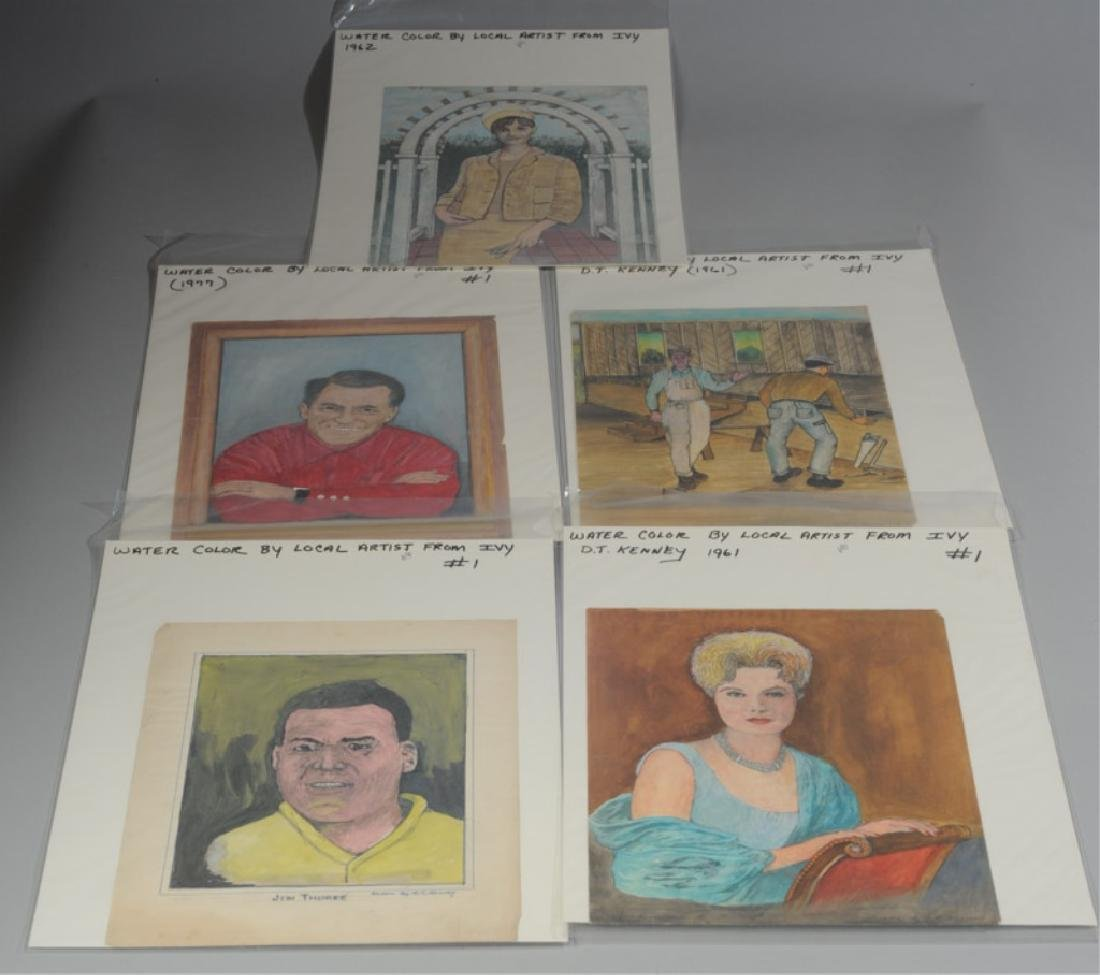 Five D.T. Kenney Watercolors