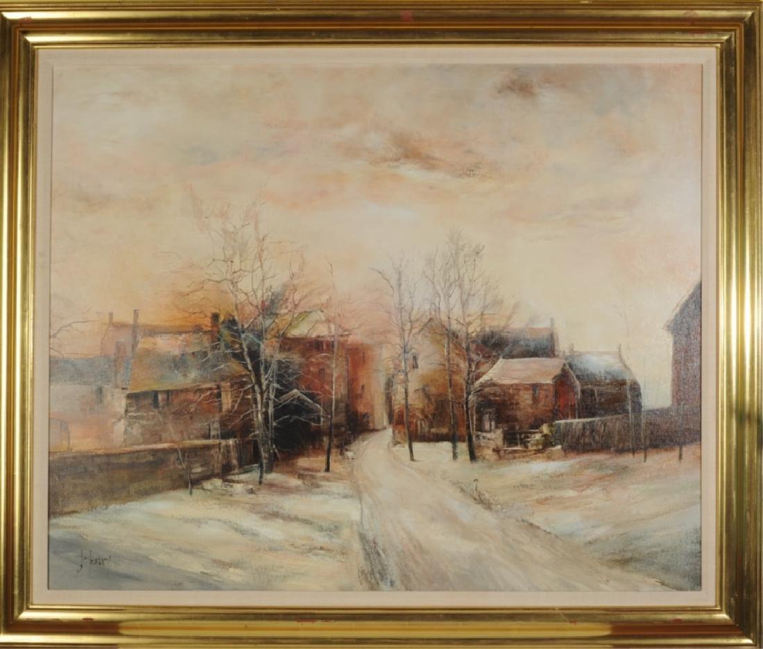 Francois d'Izarny b. 1952 Oil on Canvas Winter Village
