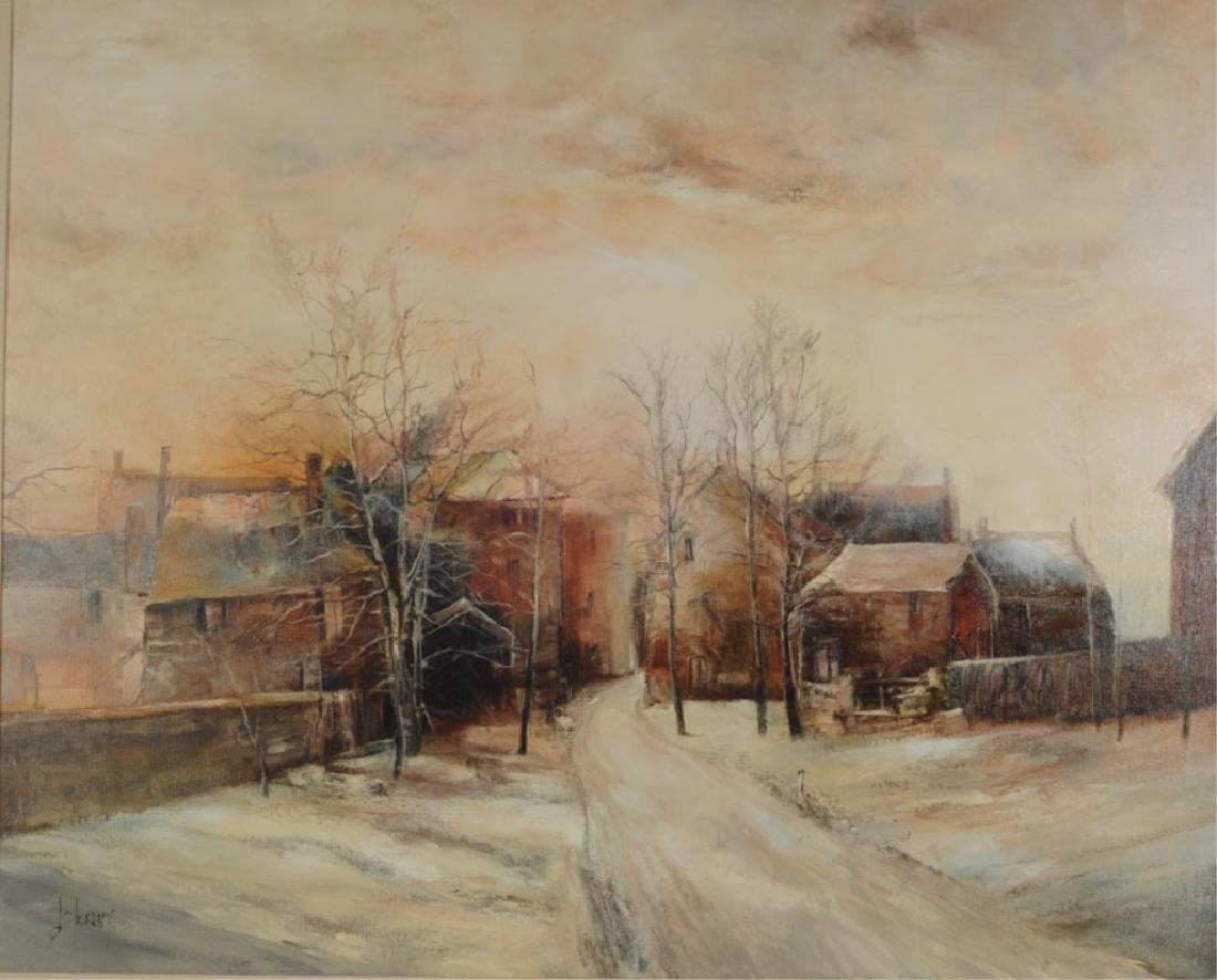 Francois d'Izarny b. 1952 Oil on Canvas Winter Village - 2