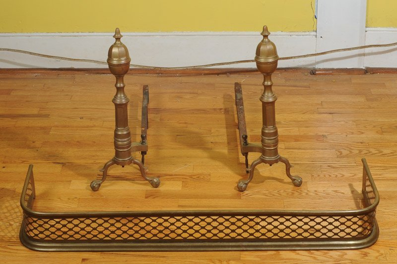 Pair of Brass Andirons with Ball & Claw Feet