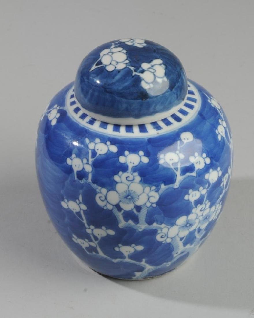 Antique Chinese Blue & White Prunus Jar & Cover