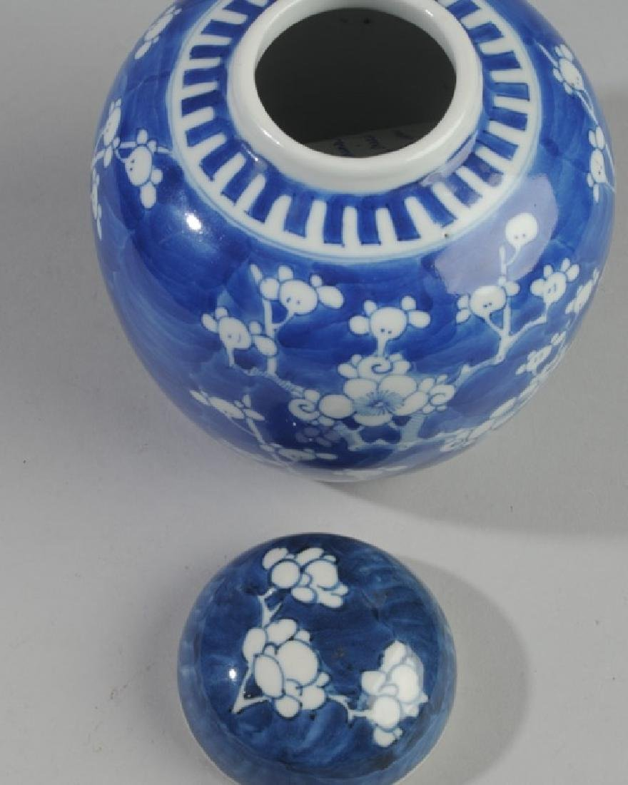 Antique Chinese Blue & White Prunus Jar & Cover - 2