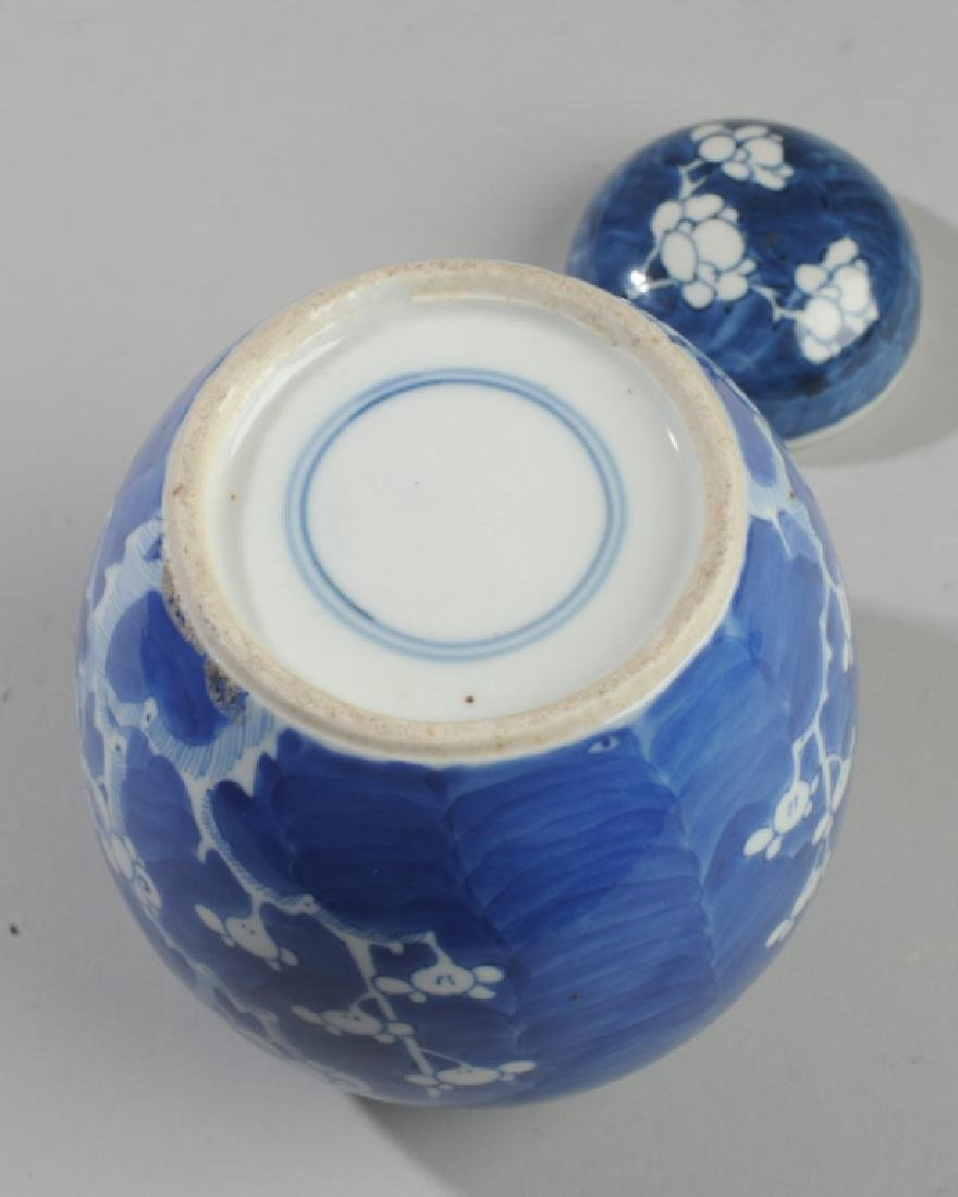 Antique Chinese Blue & White Prunus Jar & Cover - 3