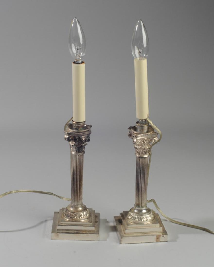 Pair Corinthian Column Metal Lamps