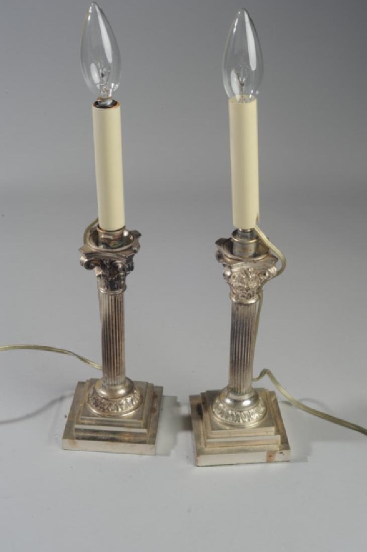 Pair Corinthian Column Metal Lamps - 2