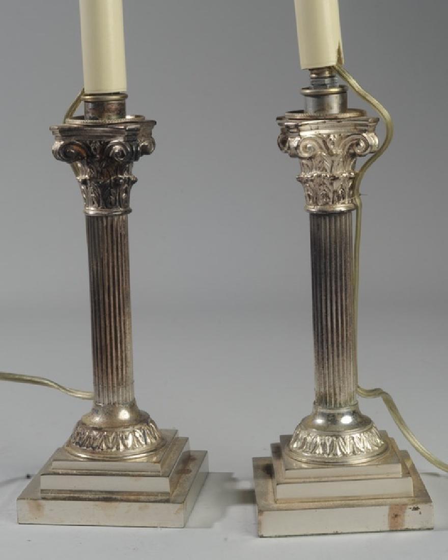 Pair Corinthian Column Metal Lamps - 3
