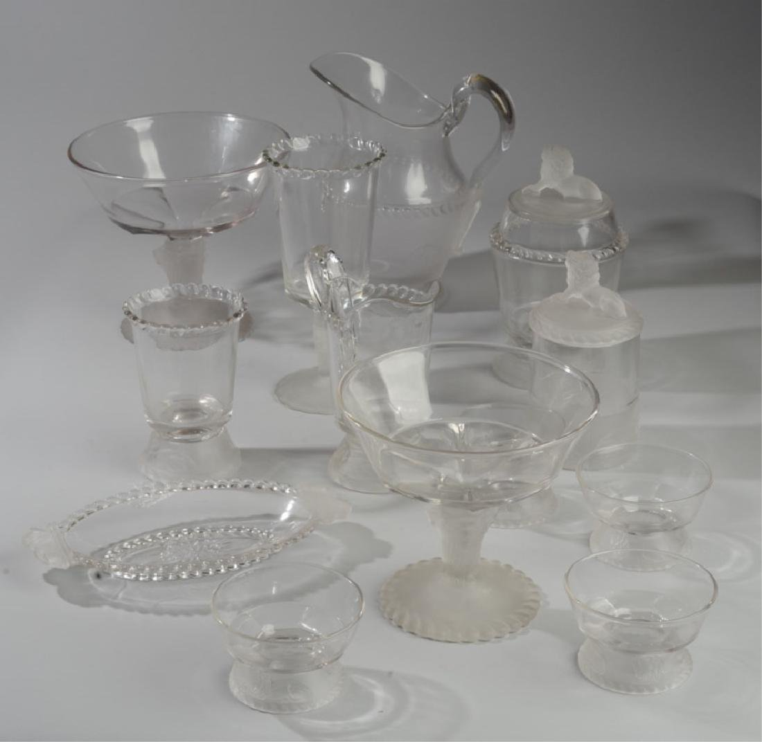 Lot of Lion Motif Frosted Glass Serving Pieces