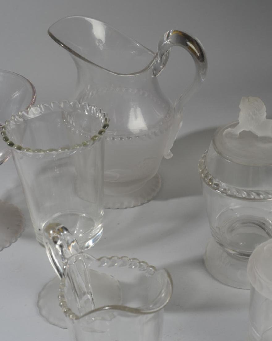 Lot of Lion Motif Frosted Glass Serving Pieces - 3