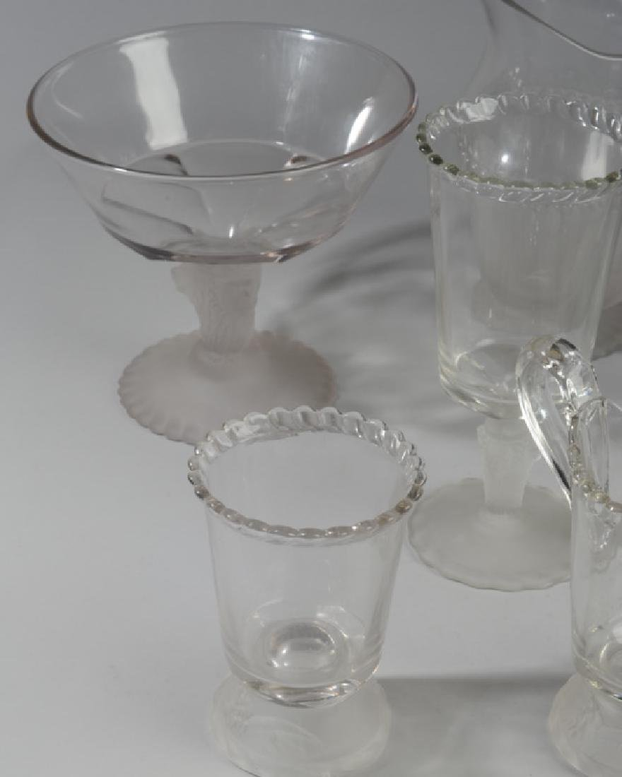 Lot of Lion Motif Frosted Glass Serving Pieces - 5