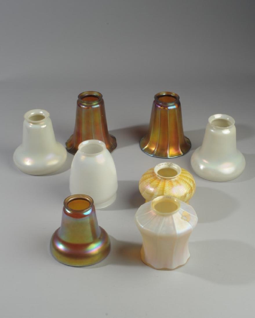 Lot of Iridescent  Art Glass Shades, Quezal