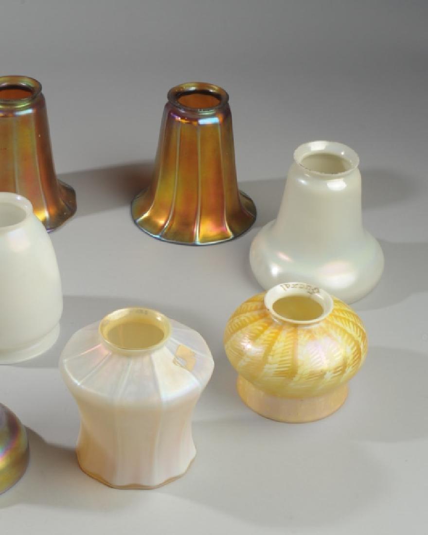 Lot of Iridescent  Art Glass Shades, Quezal - 3