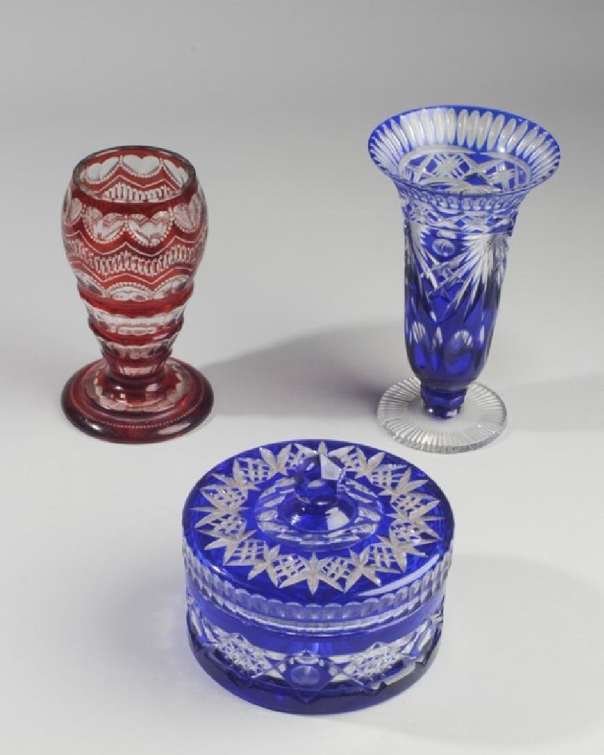 Three Pieces Heavy Bohemian Cut to Clear Glass