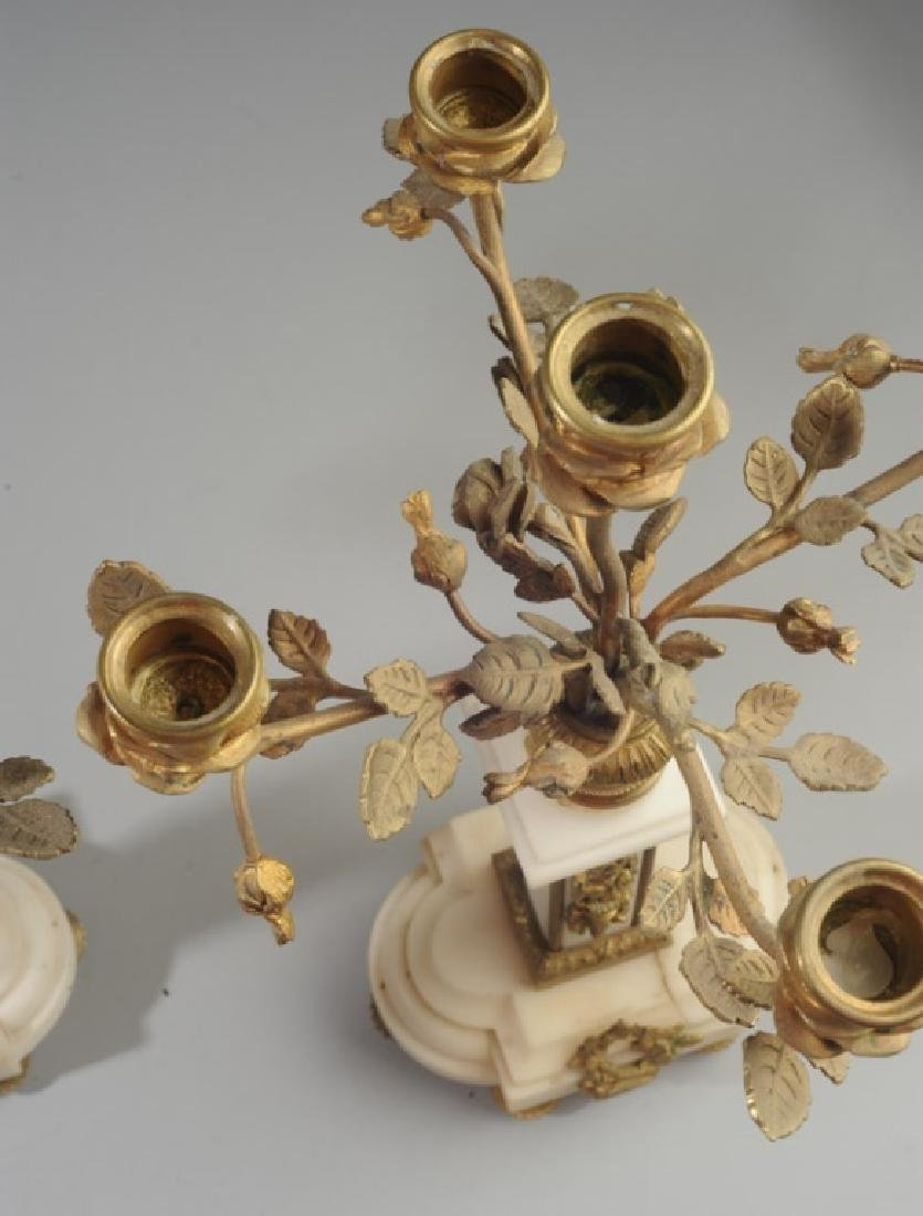 Pair French Alabaster and Bronze Candelabra - 10