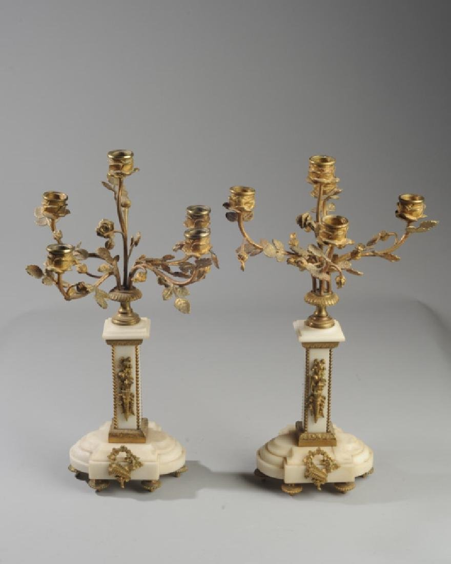 Pair French Alabaster and Bronze Candelabra