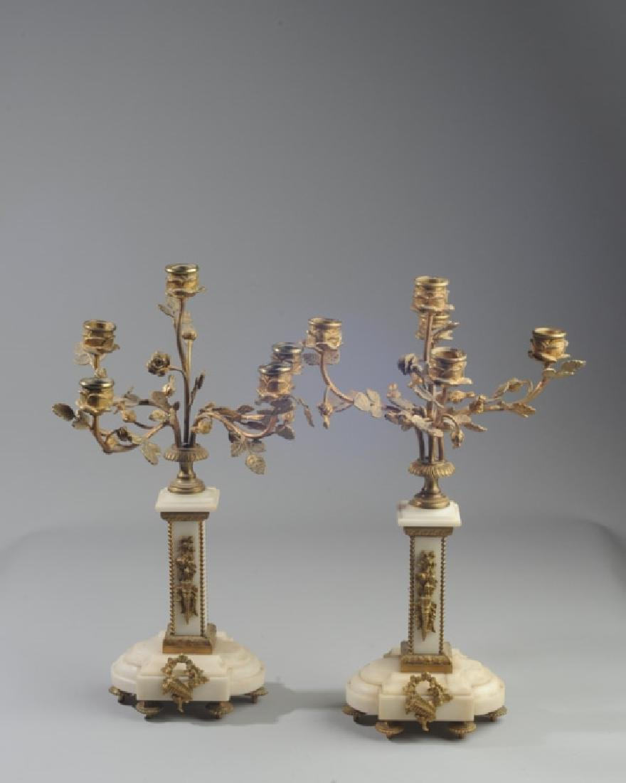 Pair French Alabaster and Bronze Candelabra - 2