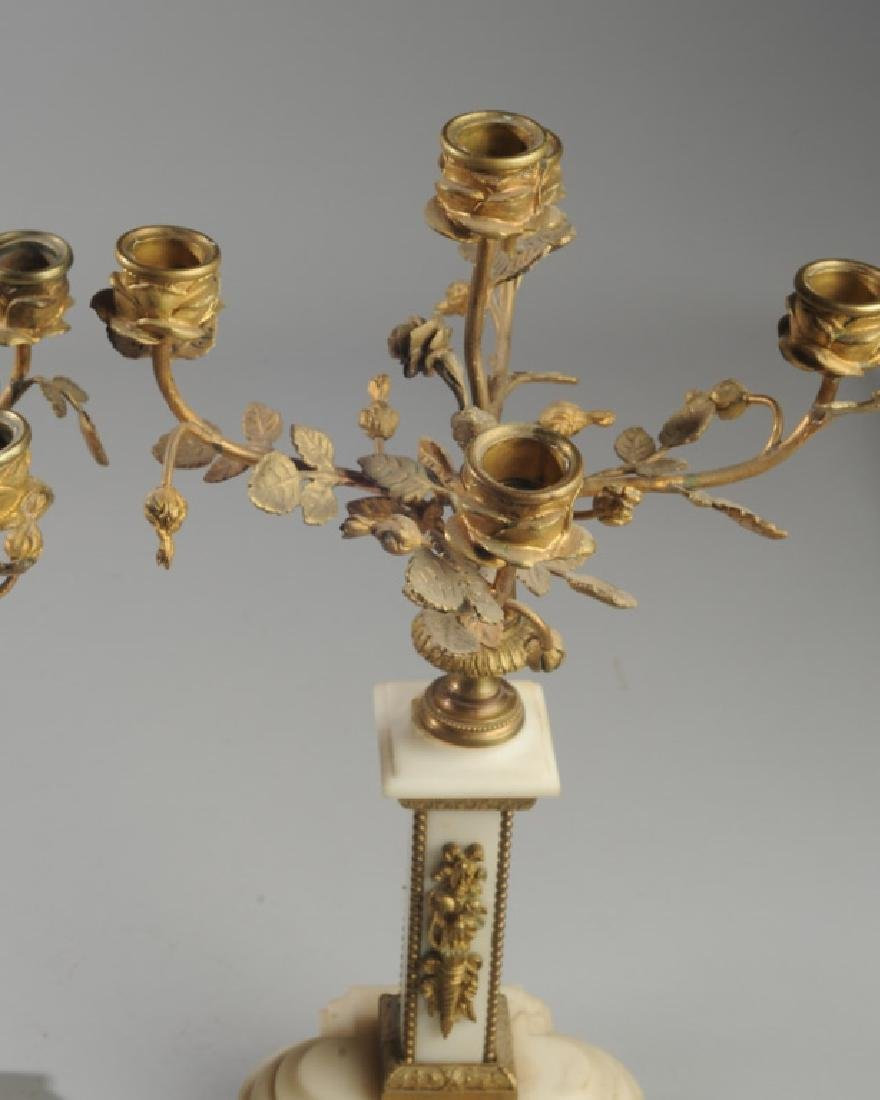 Pair French Alabaster and Bronze Candelabra - 3