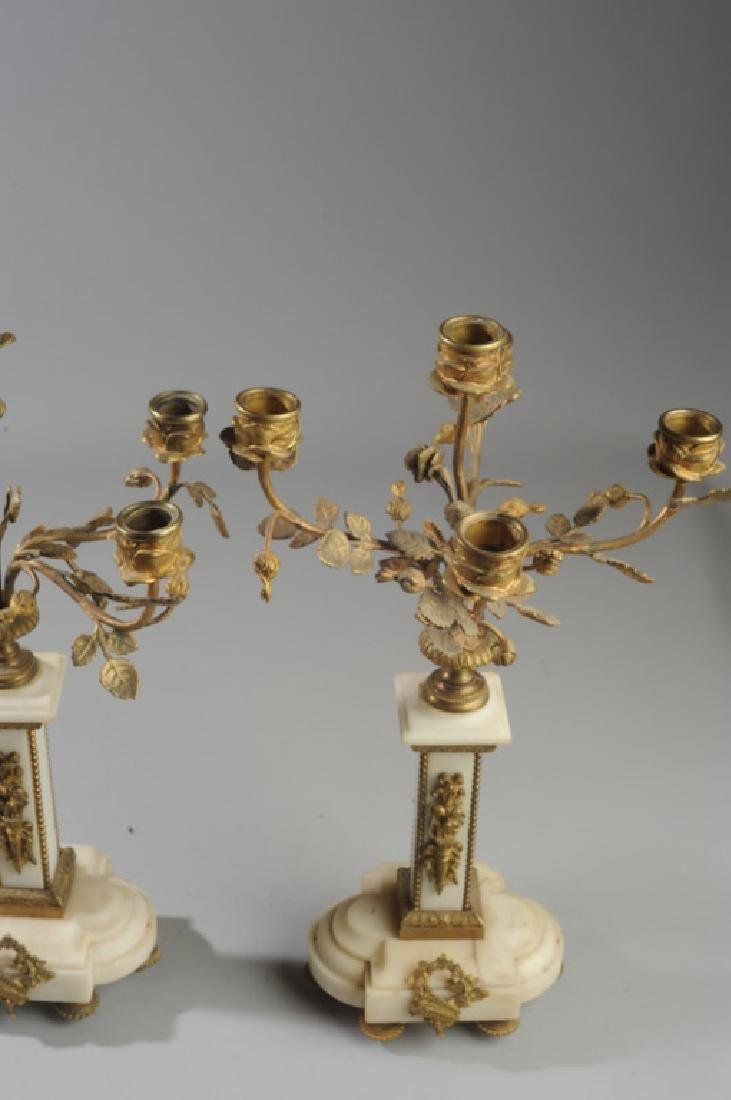 Pair French Alabaster and Bronze Candelabra - 5