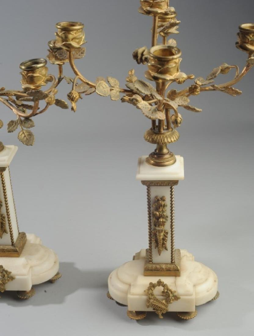 Pair French Alabaster and Bronze Candelabra - 6