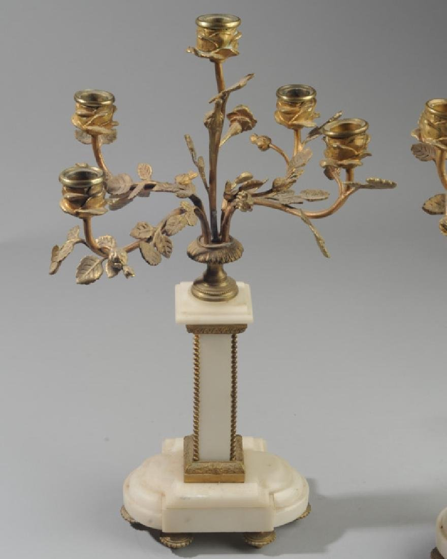 Pair French Alabaster and Bronze Candelabra - 8