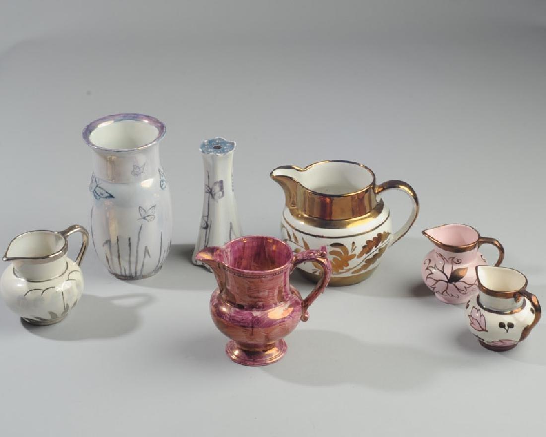 Mixed Copper & Pink Lustreware Lot
