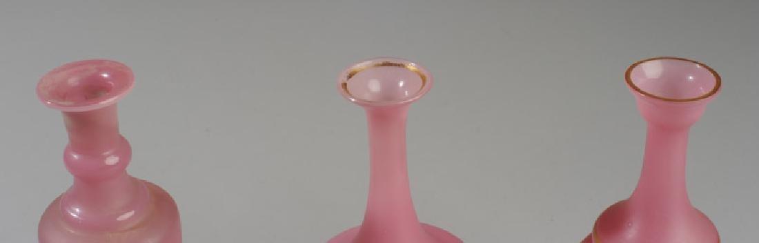 Three Antique Pink Opaline Glass Vases - 2