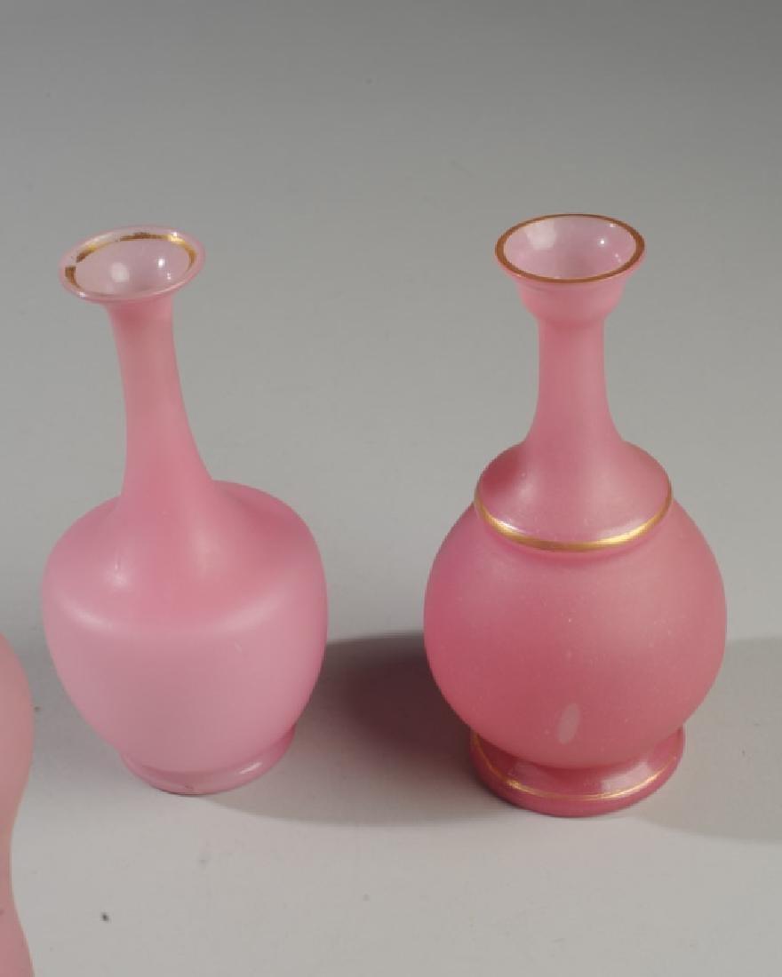 Three Antique Pink Opaline Glass Vases - 4