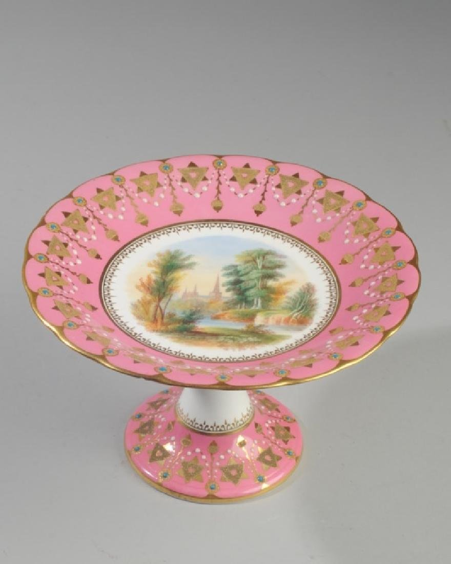 19th C. Old Paris Pink & Gold Scenic Compote