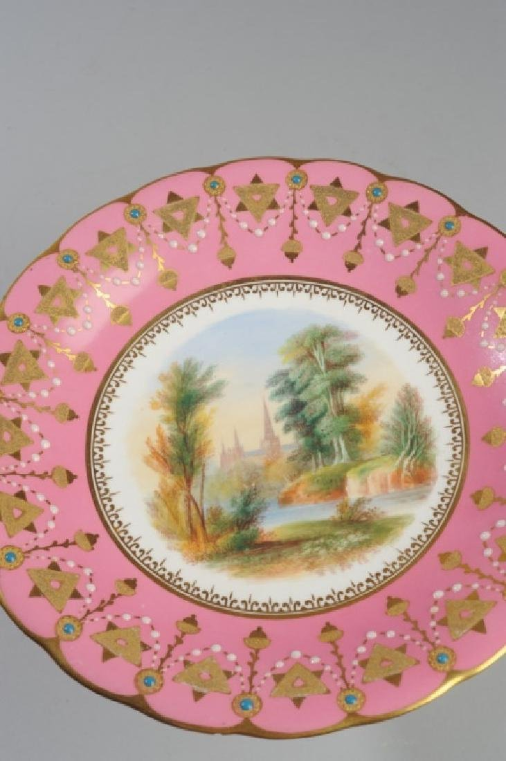 19th C. Old Paris Pink & Gold Scenic Compote - 4
