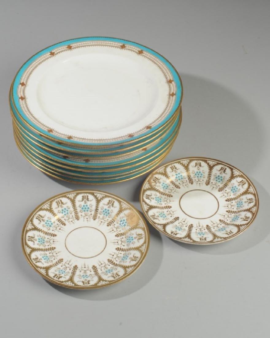 8 Old Paris Turquoise & Gold Porcelain Plates