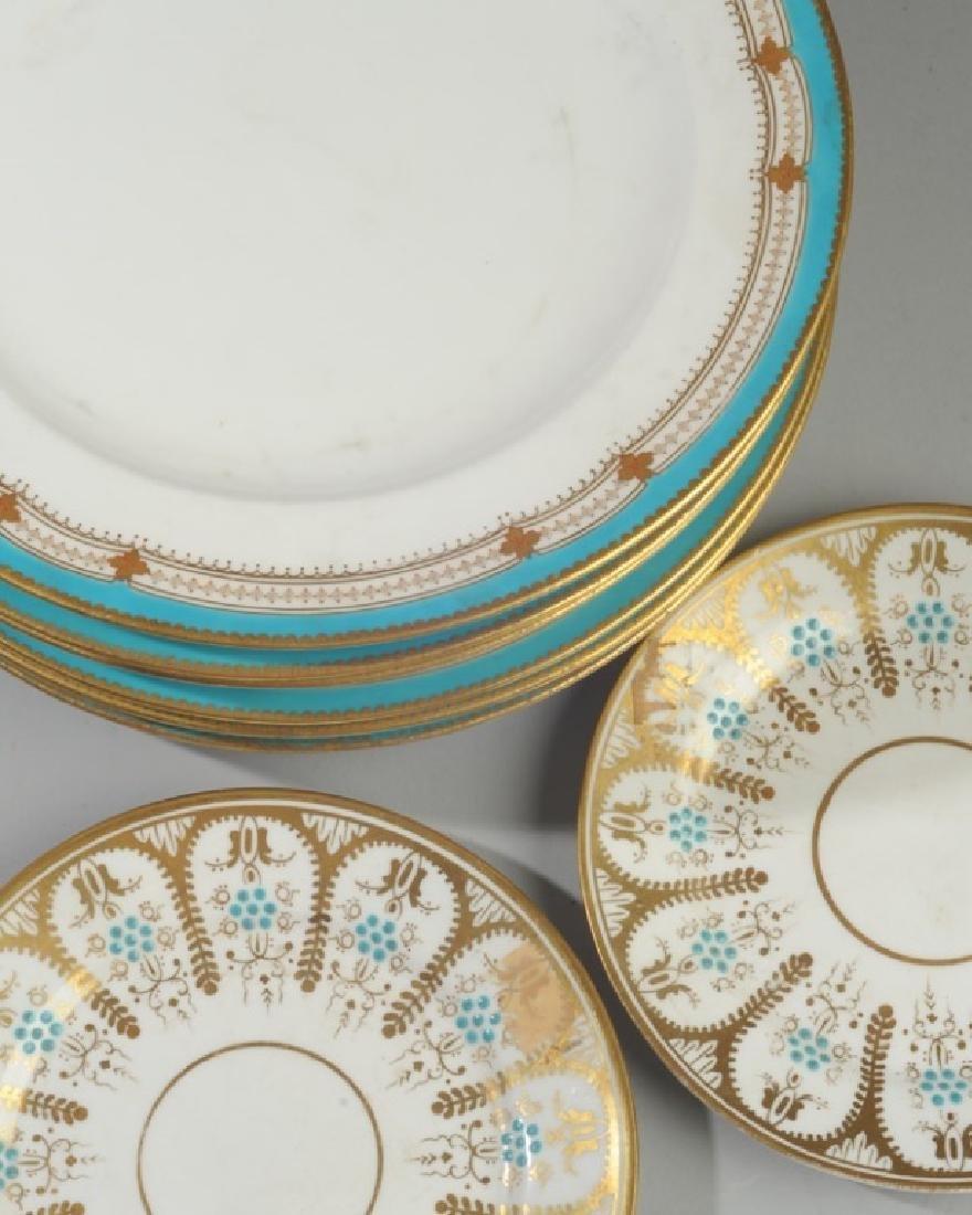 8 Old Paris Turquoise & Gold Porcelain Plates - 2