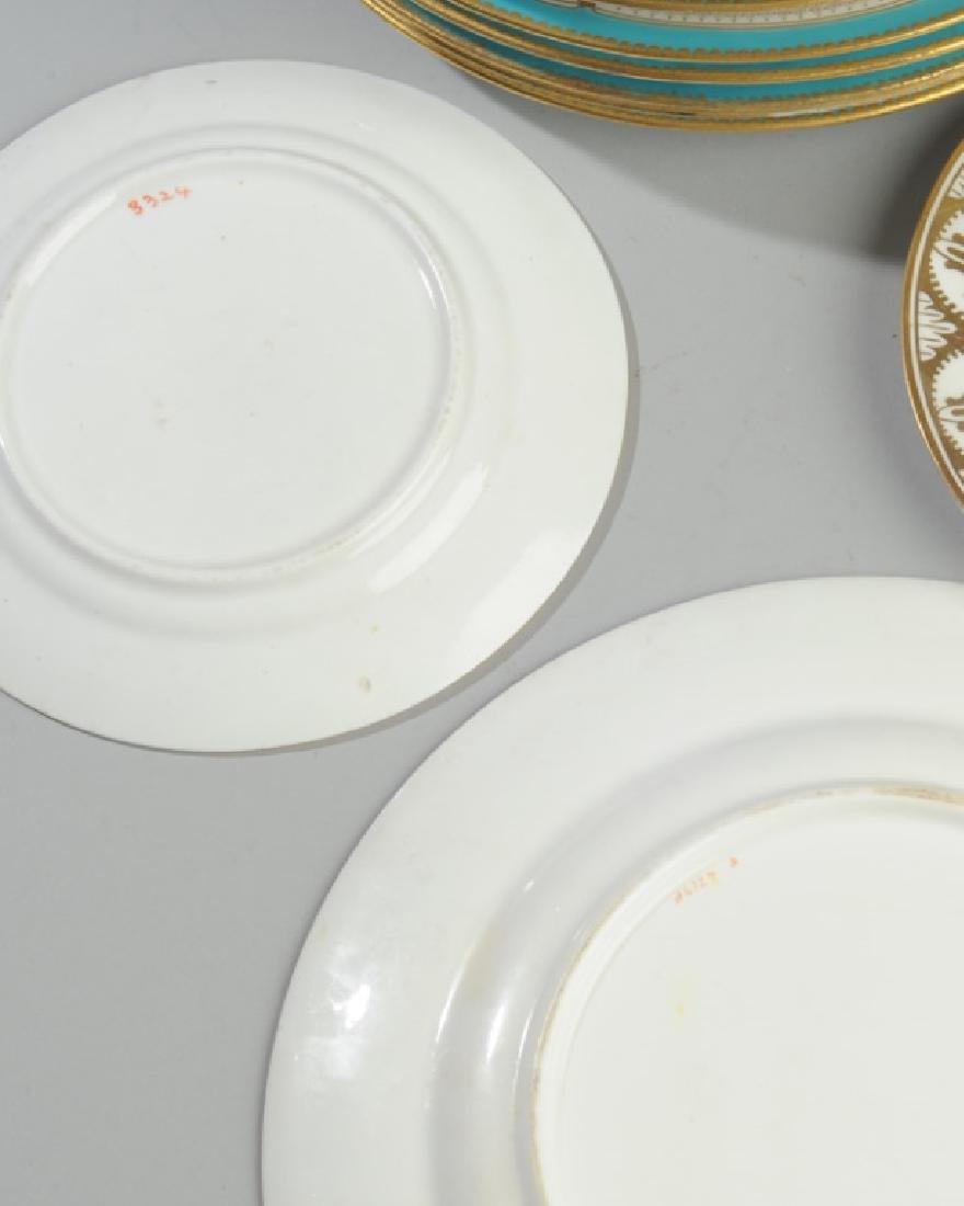 8 Old Paris Turquoise & Gold Porcelain Plates - 3