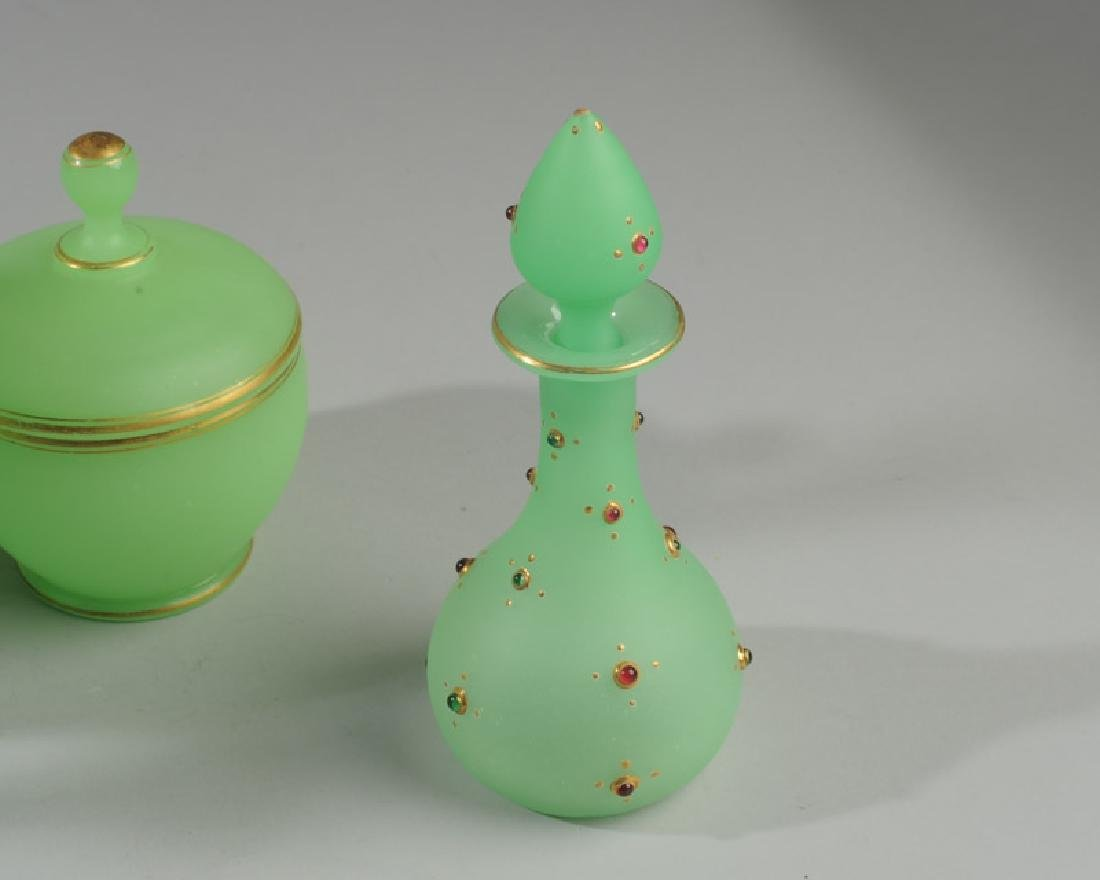 Lot of Antique French Opaline Green Glass - 2