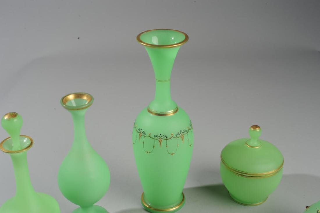 Lot of Antique French Opaline Green Glass - 3