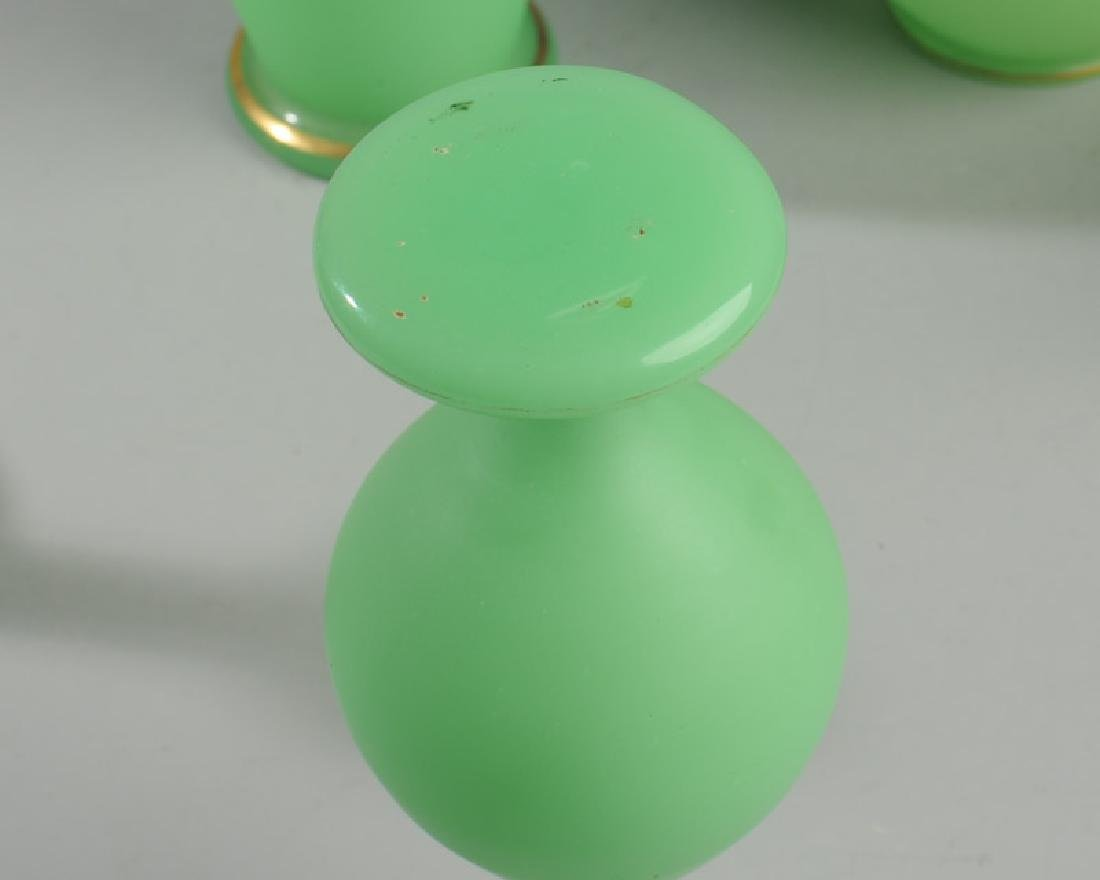Lot of Antique French Opaline Green Glass - 4