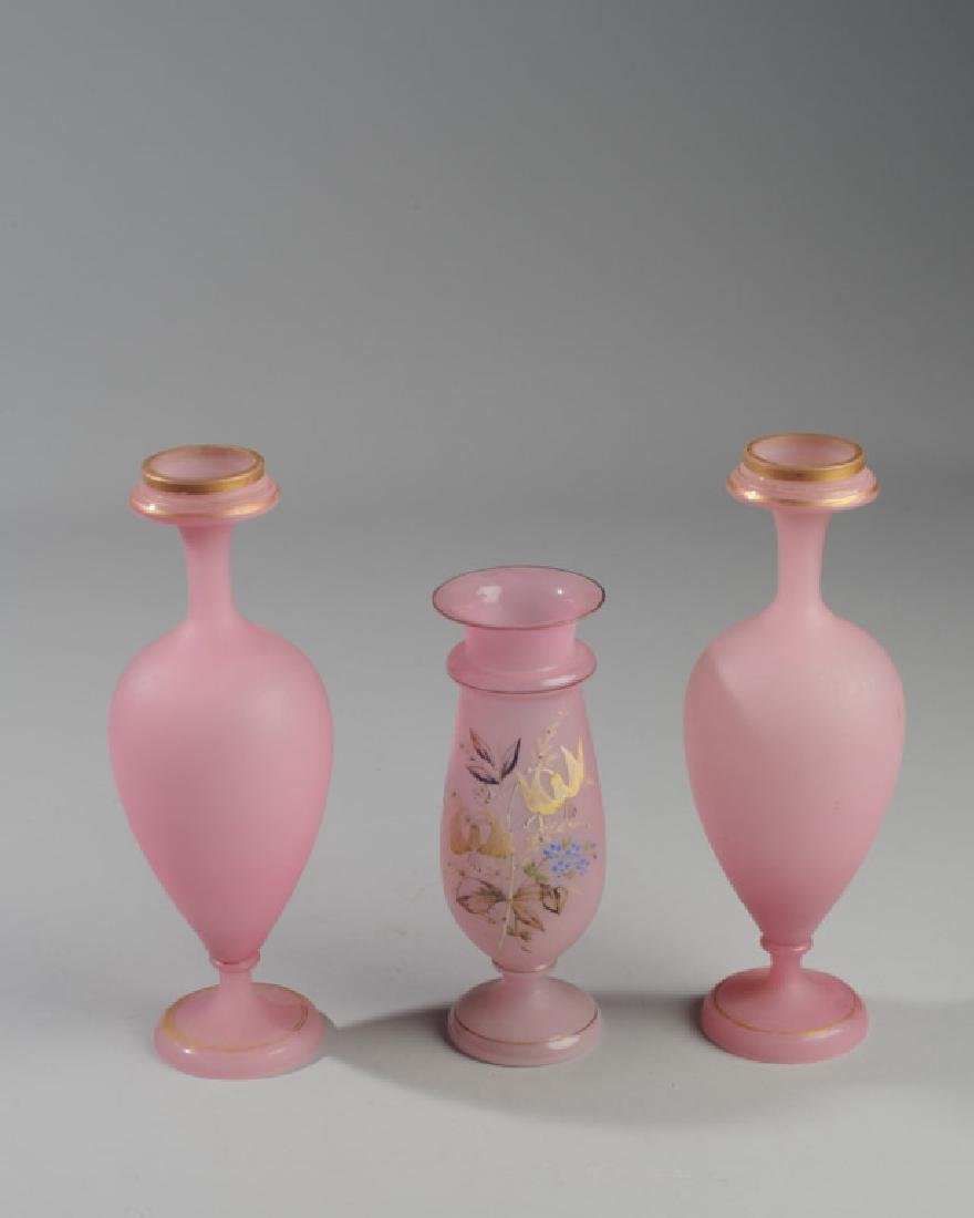 Three Antique Pink Opaline Vases