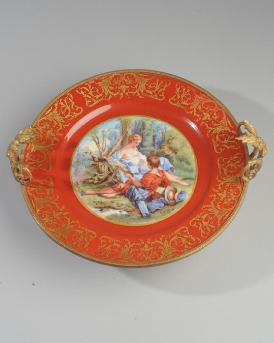 Antique Limoges Porcelain Plate, Bronze Mounts