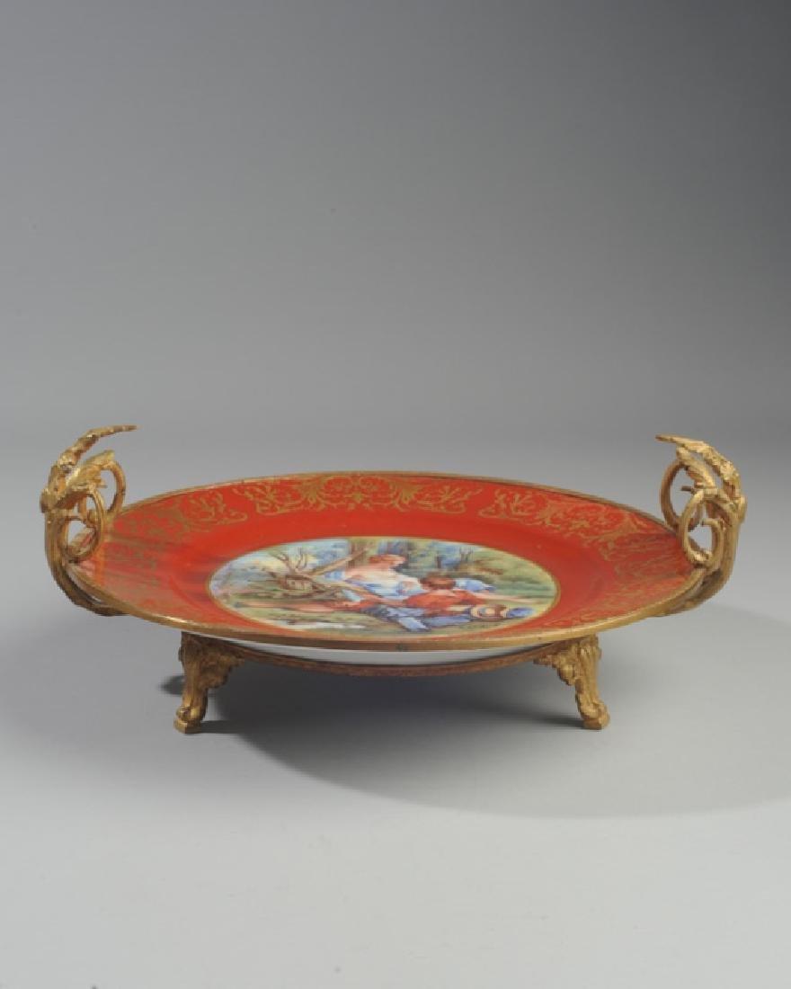 Antique Limoges Porcelain Plate, Bronze Mounts - 3