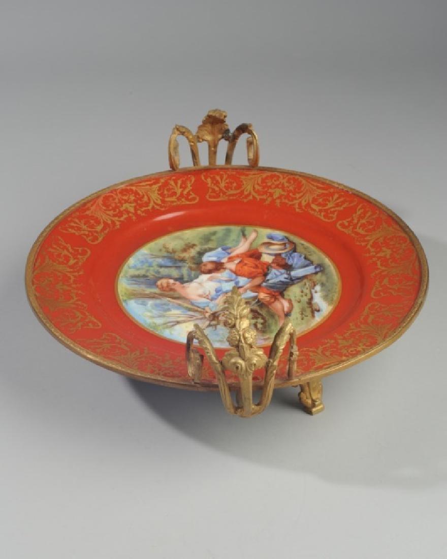 Antique Limoges Porcelain Plate, Bronze Mounts - 4