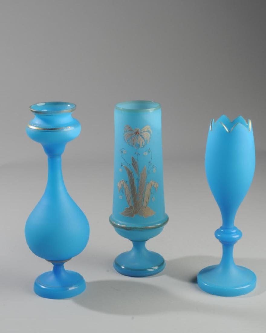 Three Antique French Opaline Blue Glass Vases