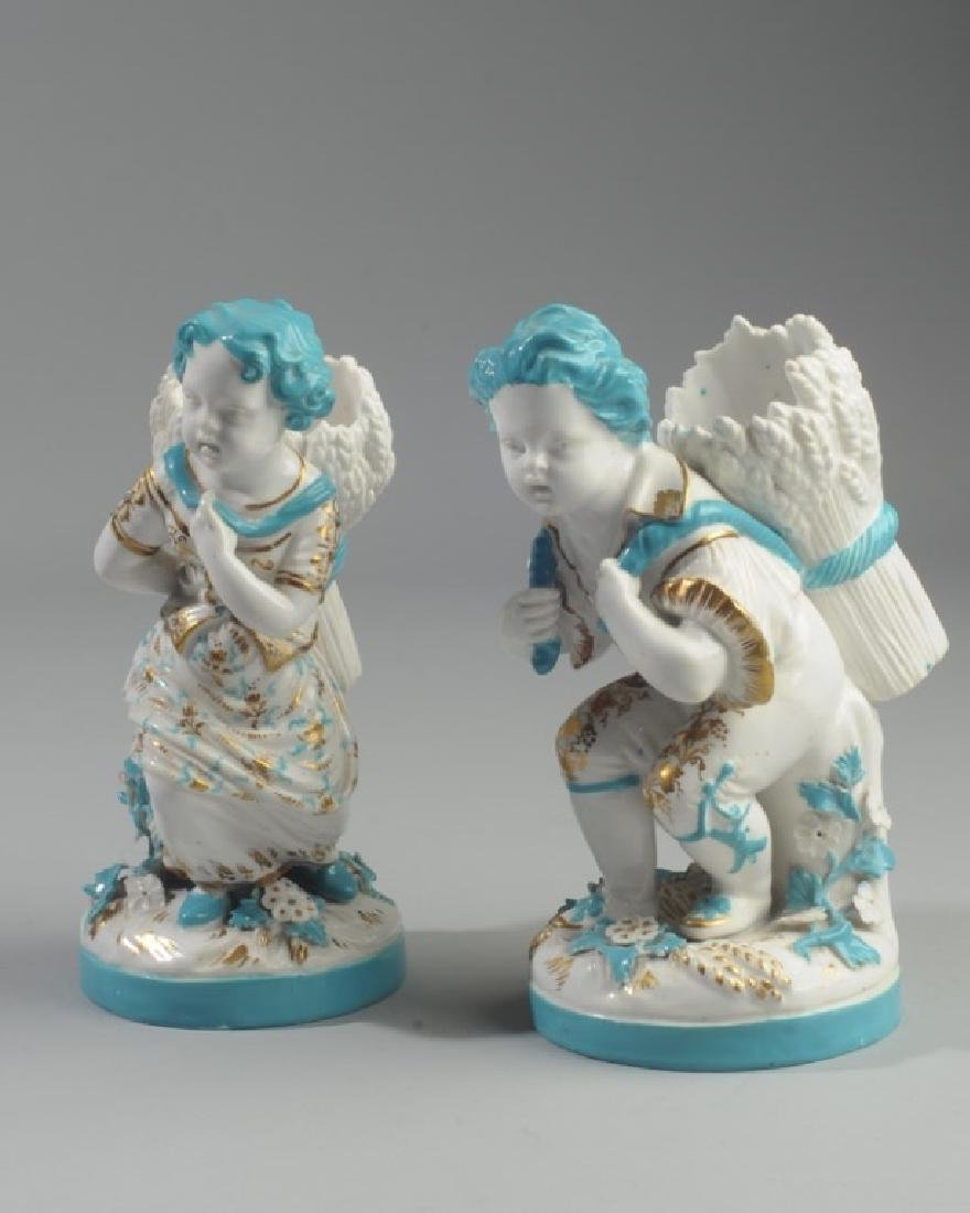 Pair of Continental Figural Porcelain Vases