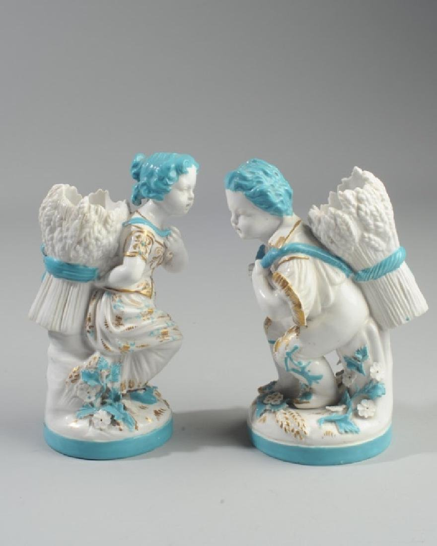 Pair of Continental Figural Porcelain Vases - 2