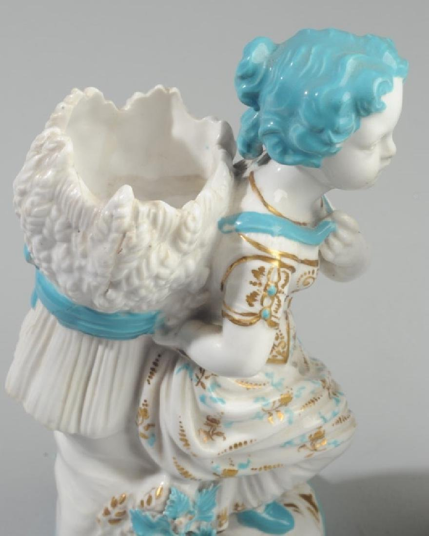 Pair of Continental Figural Porcelain Vases - 3