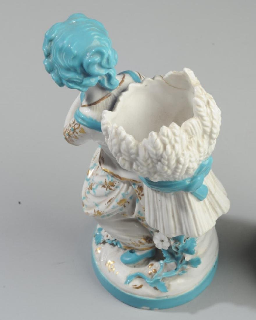 Pair of Continental Figural Porcelain Vases - 5