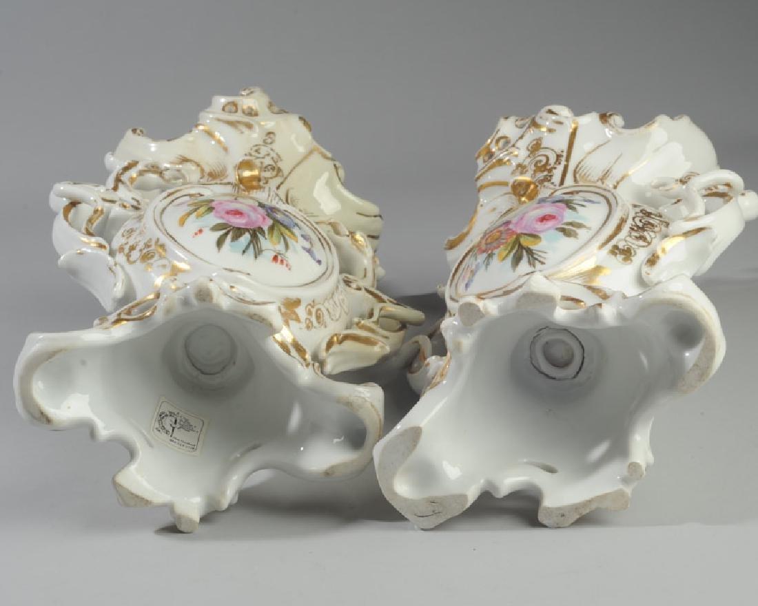 Pair of Old Paris Vases - 5