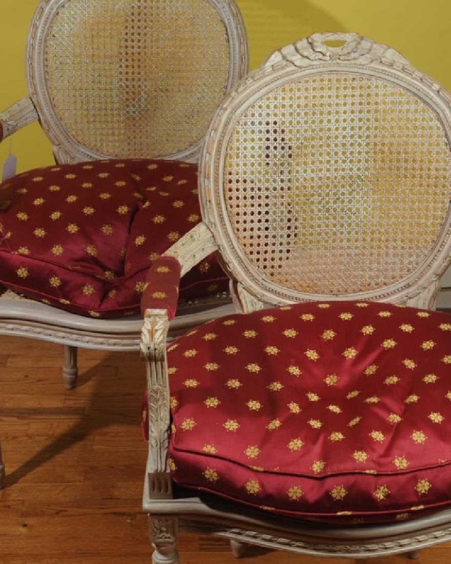 Pair of French Louis XVI Style Painted Fauteuils - 2