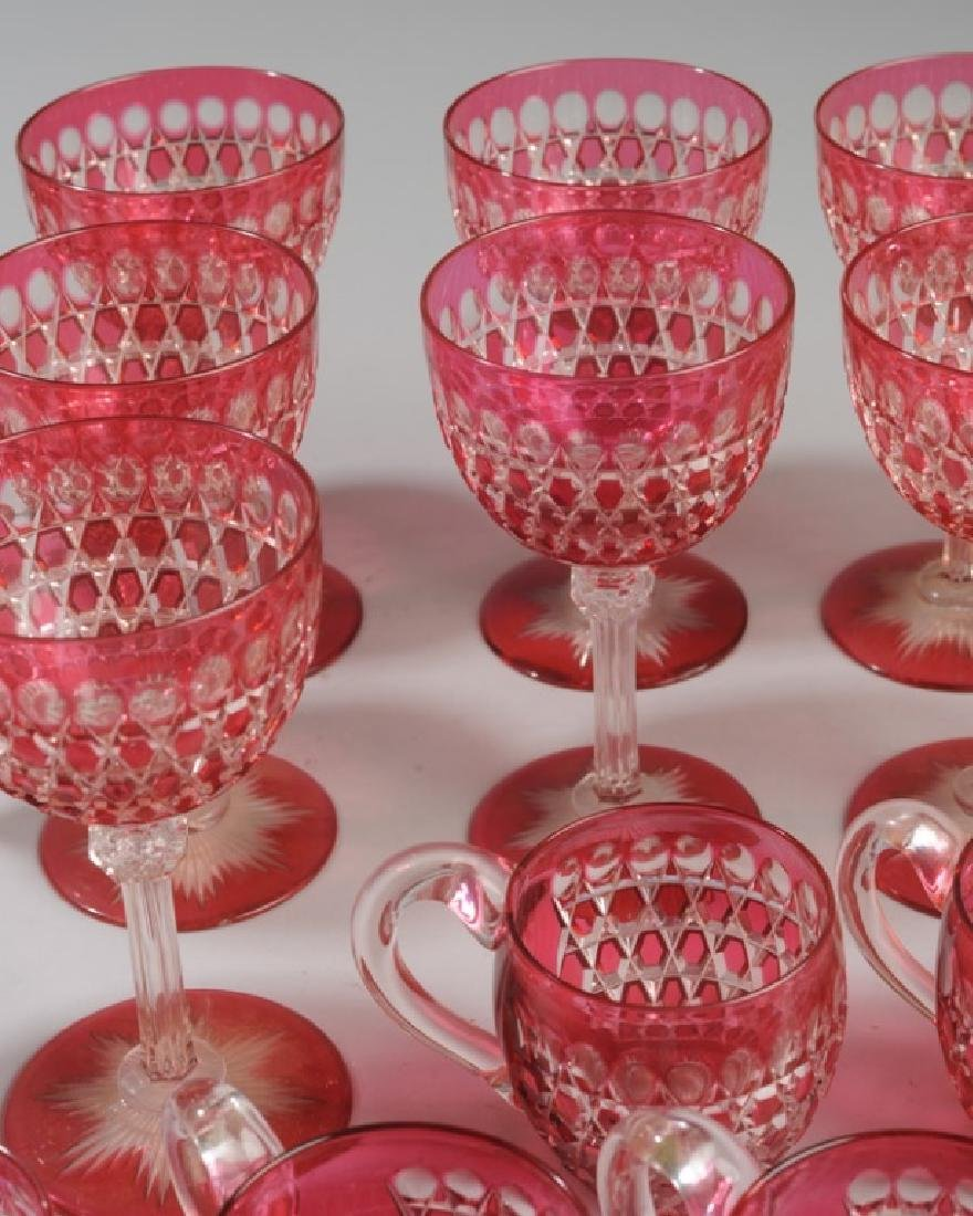 Lot Cranberry Cut to Clear Crystal Wine Stems - 2
