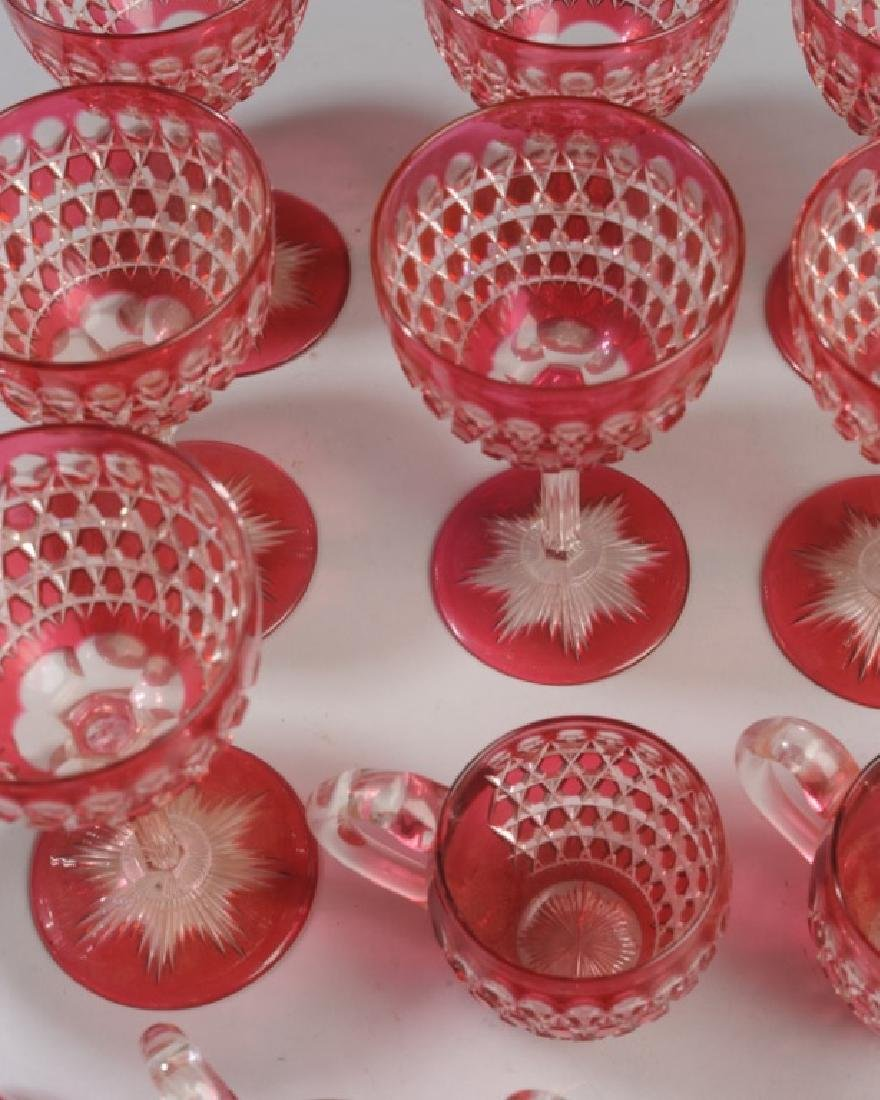Lot Cranberry Cut to Clear Crystal Wine Stems - 3