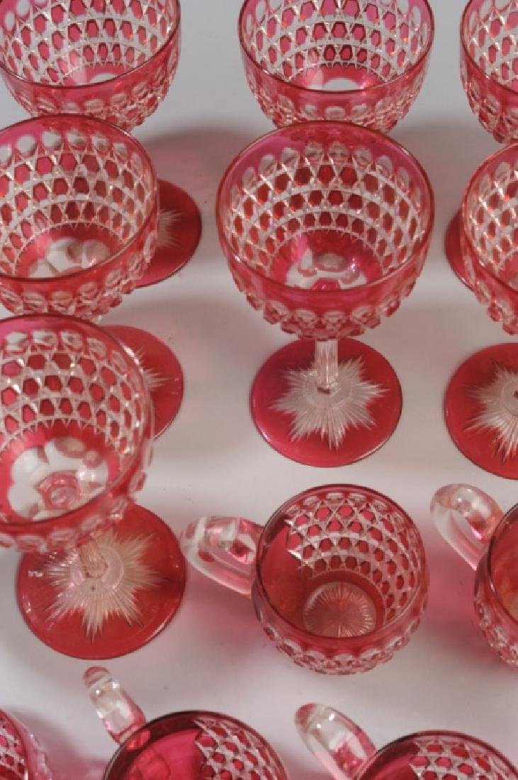Lot Cranberry Cut to Clear Crystal Wine Stems - 4