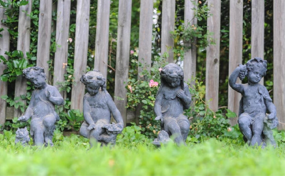 Four 19th C. French Lead Garden Figures