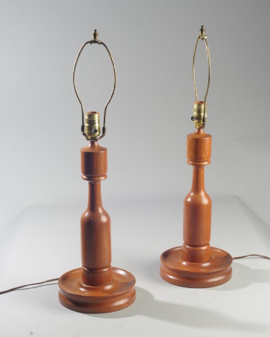 Pair of Vintage E.A. Clore Wooden Lamps